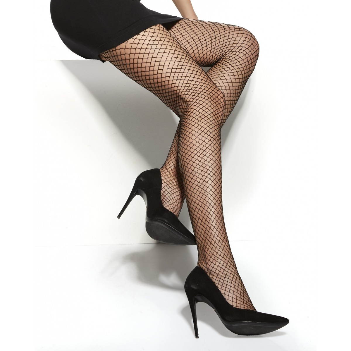 Fishnet Tights Black Small Scale Pantyhose Hosiery by Aurellie