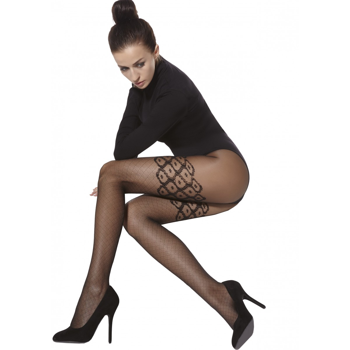 b414a241b09 Lucy 20 Denier Black Patterned Tights by Adrian Aurellie-store ...