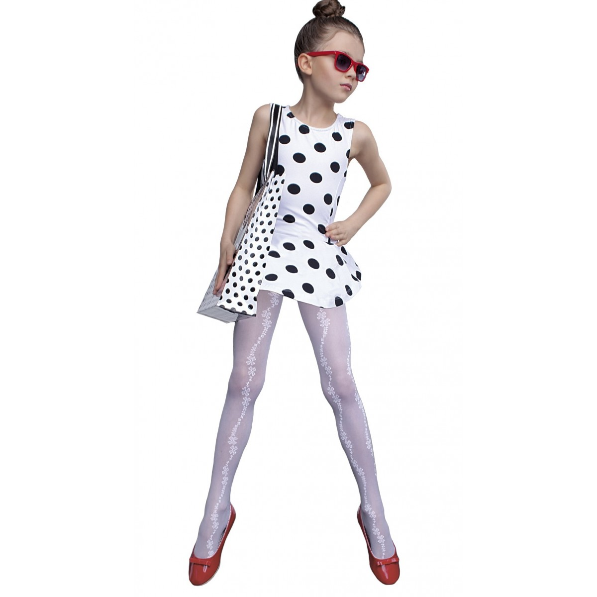 75a526d269988 Sissy Kids Tights 40 Den White Age 5 - 6 Fiore Aurellie-store ...