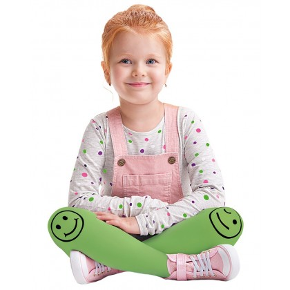 Smiley Green Tights for Kids