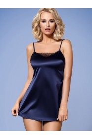 Deep Blue Satin Babydoll Nightdress Satina