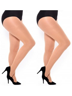 PLUS SIZE OPAQUE MICROFIBER TIGHTS NATURAL 2 PACK