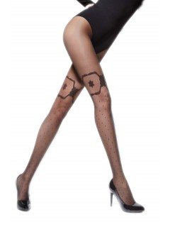 Aran 20 Denier Black Patterned Tights
