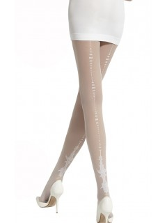 Ariadna White Patterned Tights 20 Denier