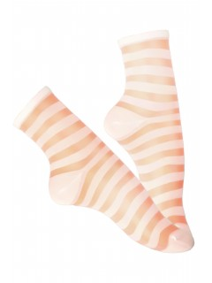 Women Girl Sheer Stripe Pattern Ankle Socks 1 pair