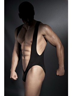 "Men's Black Mankini Costume Bodysuit "" Bryan "" with Open Back"