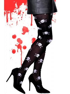 Fancy Patterned Tights for Halloween Crane Skull Bones 40 Denier