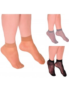Classic sheer ankle socks three colours wide band 2 pack