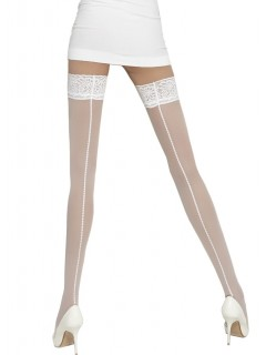 Elenaii White Patterned Hold Up Stocking Wedding Collection