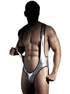 Silver Shiny Open Back & Front Mankini Fabian