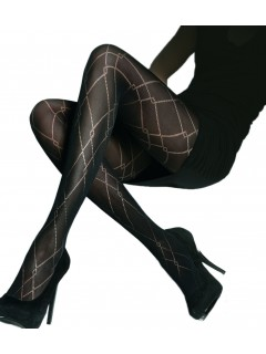 Ida 40 Denier Black Patterned Tights Adrian
