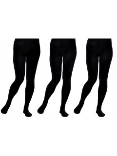 BACK TO SCHOOL GIRLS SOLID BLACK OPAQUE TIGHTS 80 DEN    3 PACK