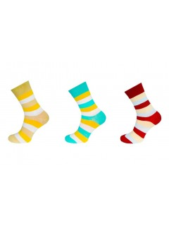 Women Stripe Pattern Ankle Socks 3 Pack
