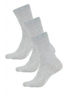 AURELLIE BOYS SPORTS COTTON RIBBED SOCKS GREY 3 PACK