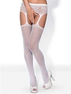 Garter stockings White S307 By Obsessive