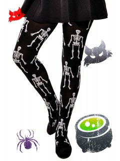 Halloween Girls opaque pattern tights Skeletons
