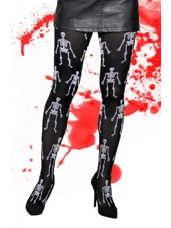 Fancy Patterned Tights Halloween Skeletons Bone Print 40 Denier