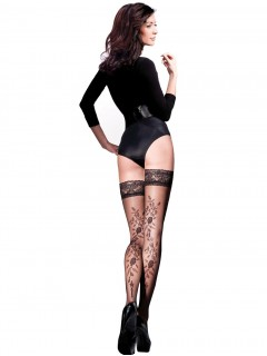Vera Black Stockings Hold Ups Floral Patterned 20 Denier